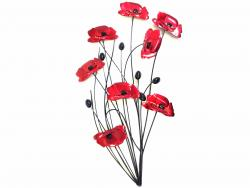 Metal Wall Art - Poppy Flower Bunch Black Stems