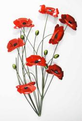 Metal Wall Art - Poppy Flower Bunch Green Stems