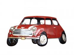 Metal Wall Art - Red Classic Mini Car