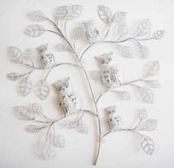 Metal Wall Art - Shabby Chic 5 Owl Branch