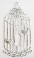 Metal Wall Art - Shabby Chic Birdcage With Birds