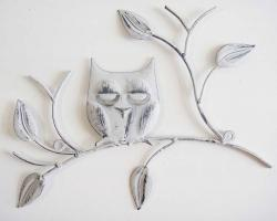 Metal Wall Art - Shabby Chic Wise Owl