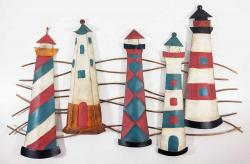 Metal Wall Art - Shabby Rustic Lighthouse Scene