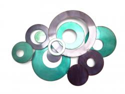 Metal Wall Art - Teal Linked Circle Disc Abstract