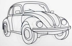 Metal Wall Art - VW Beetle Outline