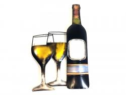 Metal Wall Art - White Wine Scene