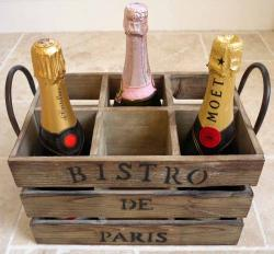 Wine Bottle Holder - 6 Bottle Bistro Crate