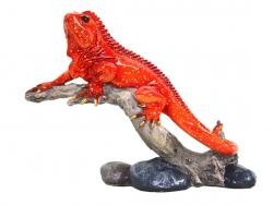 Red Lizard Iguana On Branch Figurine