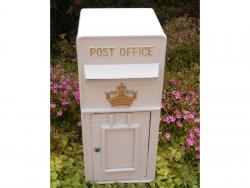 Replica Wall Mounted Royal Mail Crown Emblem Post Box Or Letter Box - White