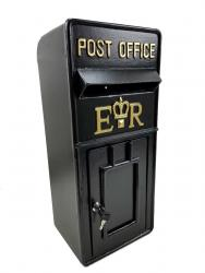Replica Wall Mounted Royal Mail ER Post Box Or Letter Box - Black