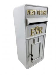 Replica Wall Mounted Royal Mail ER Post Box Or Letter Box - White