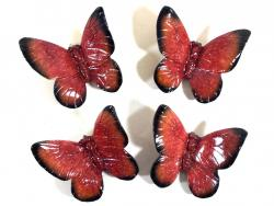 Resin Wall Art - Set Of 4 Red Butterflies