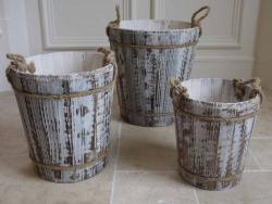 Set Of 3 Wood Bucket Planters