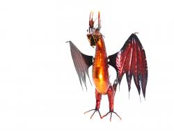 Small Blush Red Metal Winged Dragon Statue
