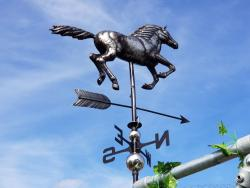 Stainless Steel Garden Weathervane - Galloping Horse Design