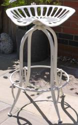 Vintage Industrial White Tractor Seat Stool