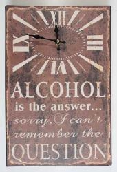Wall Clock - Metal Message Plaque Alcohol Is The Answer