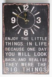 Wall Clock - Metal Message Plaque Enjoy Life