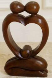 Wood Sculpture - Kissing Heart