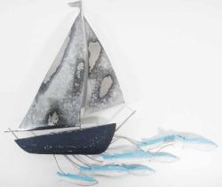 Wood Wall Art - Shabby Chic Boat And Fish
