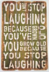 Wooden Wall Art - Laughing Sign Green