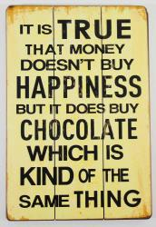 Wooden Wall Art - Money Chocolate Sign