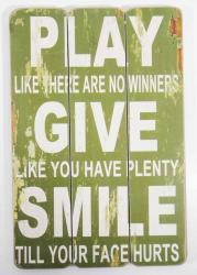 Wooden Wall Art - Play Give Smile Sign Green