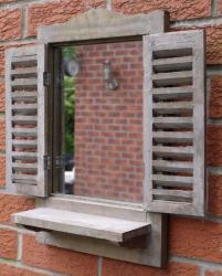 Wooden Wall Mirror - Distressed Shutter Mirror Window With Shelf