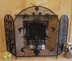 Decorative Bird Leaf Scroll 3 Fold Fire Screen Spark Guard