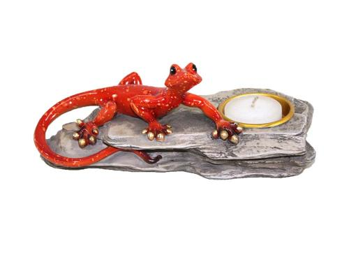 Candle Holder - Red Gecko On Rock