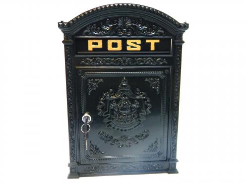 Cast Metal Wall Mounted Post Box - Vintage Green