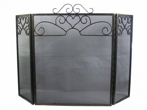 Decorative Heart Scroll 3 Fold Fire Screen Spark Guard