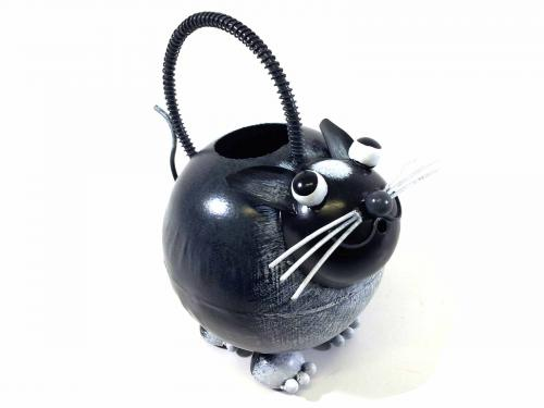 Garden Metal Tuxedo Cat Watering Can