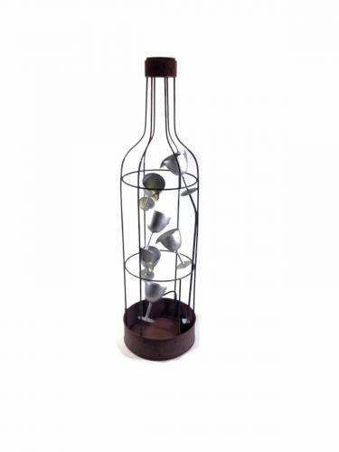 Home Or Garden Water Feature - Large Wine Bottle And Glasses