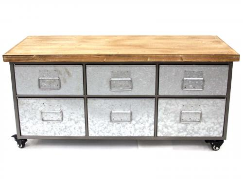 Industrial Metal Cabinet or Side Unit - 6 Drawer