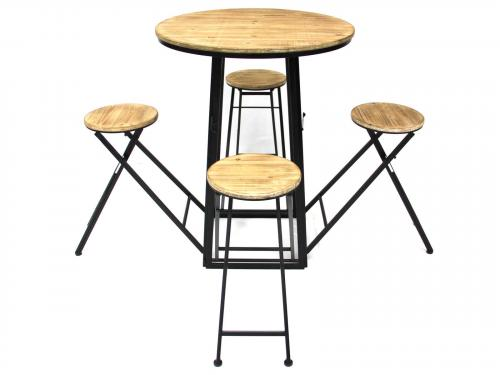 Industrial Round Folding Table and Stools