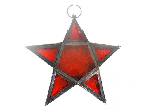 Lantern - Metal And Red Glass Star