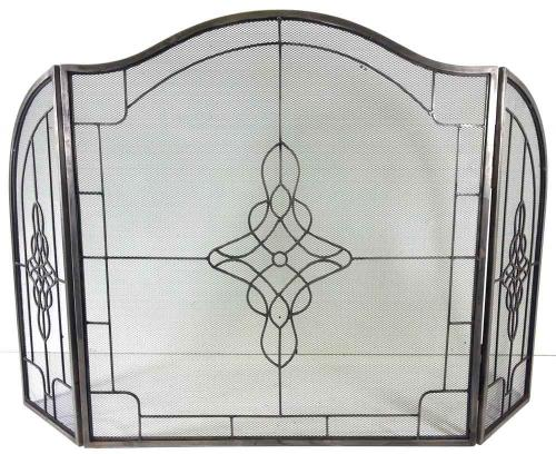 Large Pewter Decorative Filigree 3 Fold Fire Screen Spark Guard