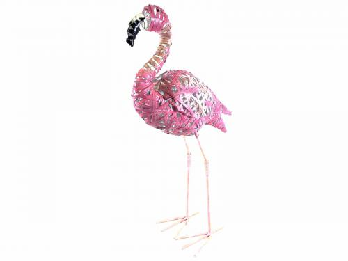 Large Pink Metal Flamingo
