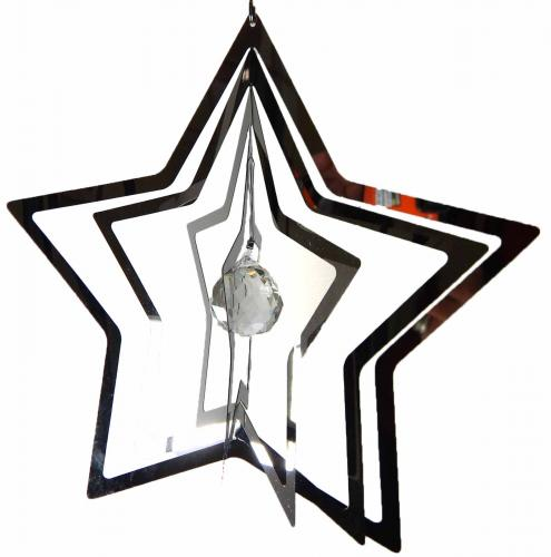 Large Star Stainless Steel Wind Spinner With Crystal