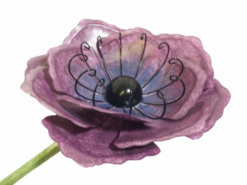 Medium Metal Garden Flower Stake - Purple Poppy