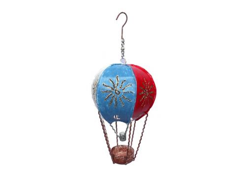 Metal Garden Ornament - Hanging Red White Blue Hot Air Ballloon