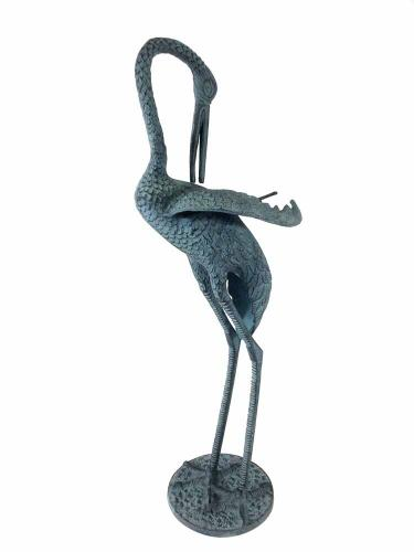 Metal Garden Ornament - Large Heron Head Down