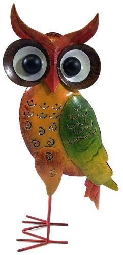 Metal Sculpture Home or Garden Ornament - Multicoloured Owl