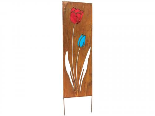 Metal Garden Panel - Rusty Tulip Flowers