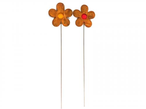 Metal Garden Stake - Rusty Daisy Flower Pair