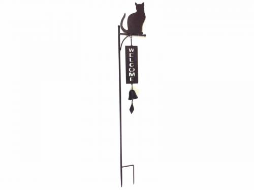 Metal Garden Welcome Bell Stake - Cat