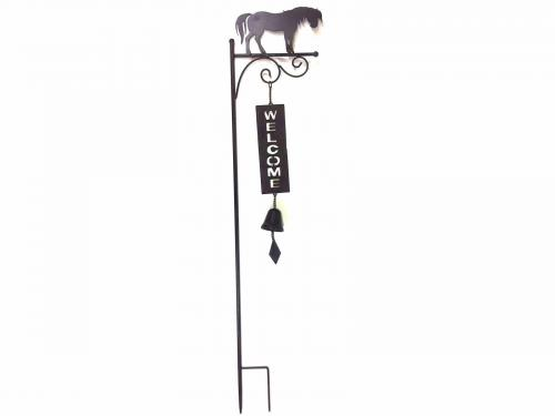 Metal Garden Welcome Bell Stake - Horse