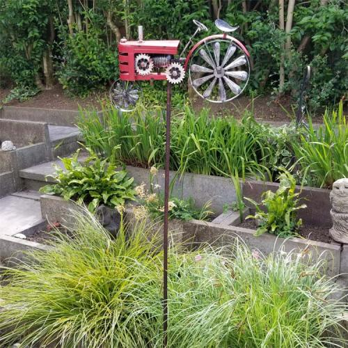 Metal Garden Wind Spinner - Classic Red Tractor