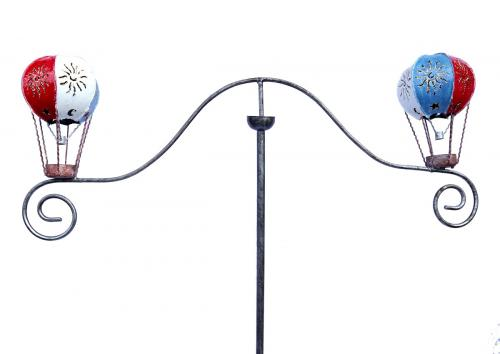 Metal Garden Wind Spinner - Red White Blue Hot Air Ballloon